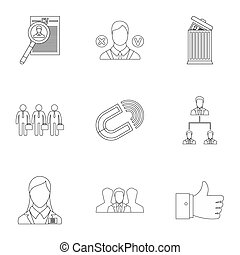 Team icons set, outline style - Team icons set. Outline...