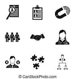 Job search icons set, simple style - Job search icons set....