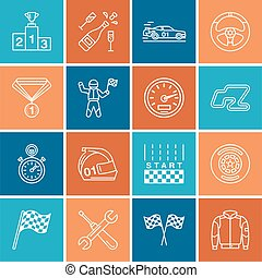 Car racing vector line icons. Speed auto championship track, automobile, racer, helmet, checkers flags, steering wheel. Linear pictogram set with editable stroke for sport event, fan store