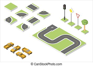 Set Isometric road and Vector Cars, Common road traffic...