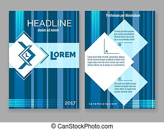 Technology digital brochure template. Vector abstract blue stripes design modern frame for your logo