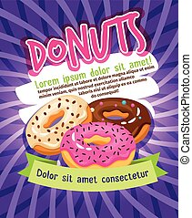 Chocolate and sugar glazed donut bakery poster. Donuts food advertising vector illustration