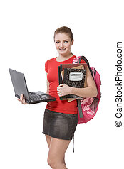 college female student girl with laptop, backpack