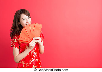 beauty woman wear cheongsam and take Red envelopes chinese...