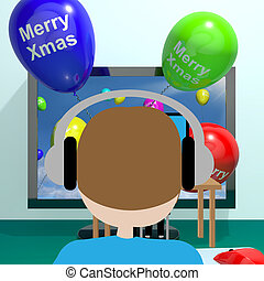 Colorful Balloons With Merry Xmas From Computer Screen 3d Illustration