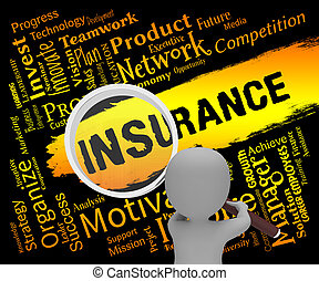 Insurance Words Represents Contract Covered 3d Rendering -...