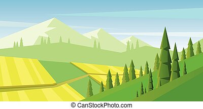 Digital vector abstract background with pines and mountains,...