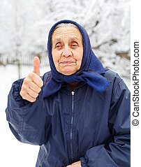 Everything is ok - Picture of an old lady showing thumbs up