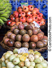Fresh exotic fruits on famous market in Funchal (Mercado dos...