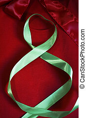 Eighth Of March - eight silk light green ribbon on red...