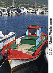 Greece, Kavala - Greece, colorful fishing boat in the...