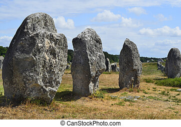 France, Brittany, Carnac - France, Carnac, ancient menhir