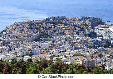 Greece, Kavala, city scape with medieval aqueduct Kamares...