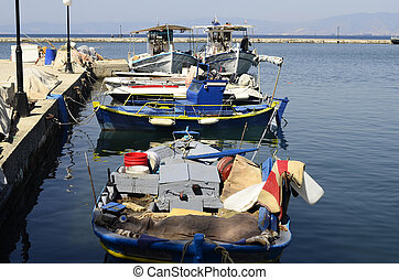 Greece, Thassos - Greece, fishing boats in the harbor of...