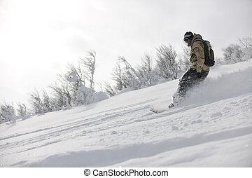 Estilo libre, snowboarder