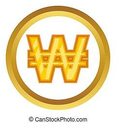 Korean won icon in golden circle, cartoon style isolated on...