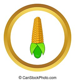 Corn cob icon in golden circle, cartoon style isolated on...
