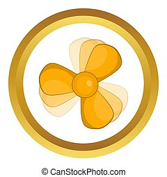 Car fan icon in golden circle, cartoon style isolated on...