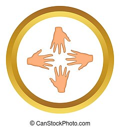 Hands of four people icon in golden circle, cartoon style...