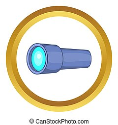Monocular icon in golden circle, cartoon style isolated on...