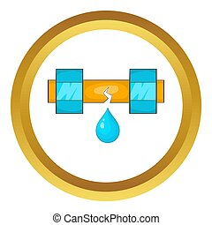 Dripping water pipe icon in golden circle, cartoon style...