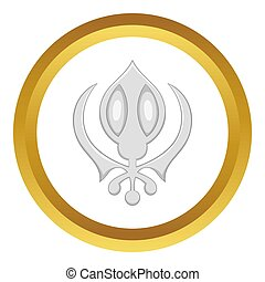 Sikhism symbol icon in golden circle, cartoon style isolated...