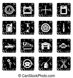Car maintenance and repair icons set, simple style