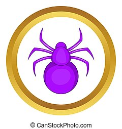 Spider icon in golden circle, cartoon style isolated on...