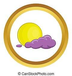 Halloween full moon icon in golden circle, cartoon style...