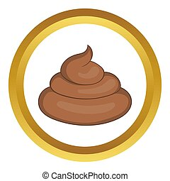 Piece of turd icon in golden circle, cartoon style isolated...
