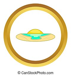 Sunset icon in golden circle, cartoon style isolated on...
