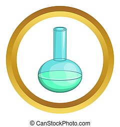 Chemical laboratory flask icon in golden circle, cartoon...