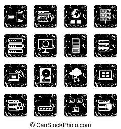 Big data set icons, grunge style - Big data set icons in...