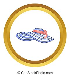 Beach hat icon in golden circle, cartoon style isolated on...