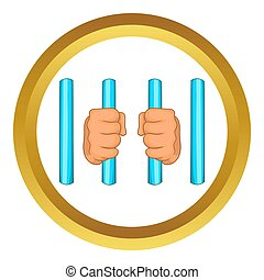 Prison icon in golden circle, cartoon style isolated on...