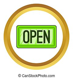 Nameplate open icon in golden circle, cartoon style isolated...