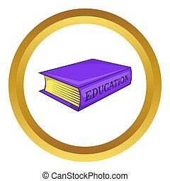 Education book icon in golden circle, cartoon style isolated...