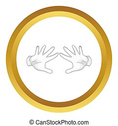 Magician hands in white gloves icon in golden circle,...
