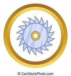 Circular saw blade icon in golden circle, cartoon style...