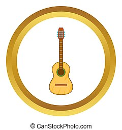 Acoustic guitar icon in golden circle, cartoon style...