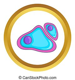 Cell nucleus icon in golden circle, cartoon style isolated...
