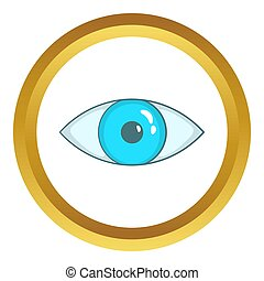 Blue eye icon in golden circle, cartoon style isolated on...