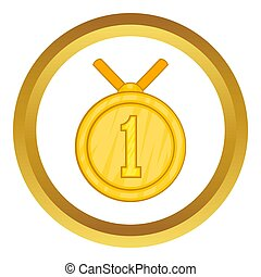 Medal for first place icon in golden circle, cartoon style...