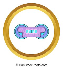 Train wheels icon in golden circle, cartoon style isolated...