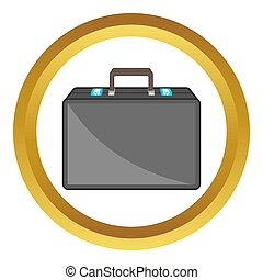 Diplomat icon in golden circle, cartoon style isolated on...