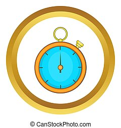Stopwatch icon in golden circle, cartoon style isolated on...