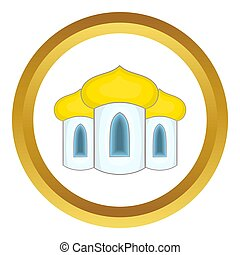 Domes of the church icon in golden circle, cartoon style...