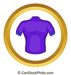 Cycling shirt icon in golden circle, cartoon style isolated...