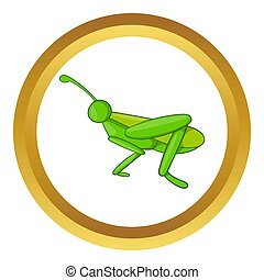 Grasshopper icon in golden circle, cartoon style isolated on...
