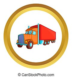 Semi trailer truck icon in golden circle, cartoon style...